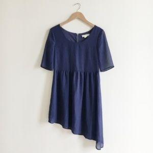 Staring at Stars Navy Blue Asymmetrical Dress